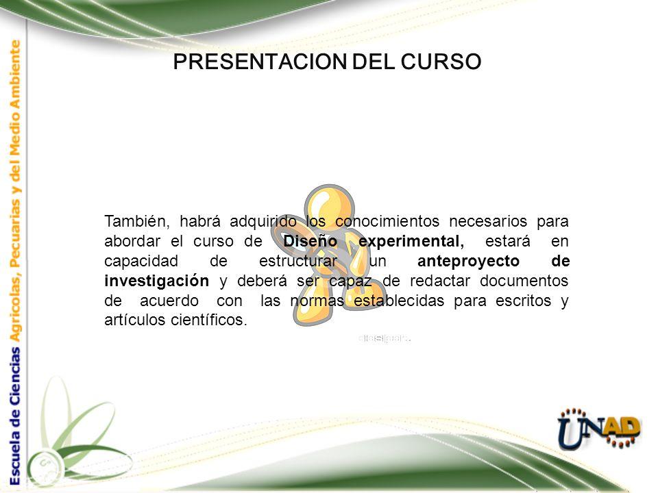 PRESENTACION DEL CURSO Para la correcta y eficaz apropiación del conocimiento de éste curso, es necesario que el estudiante posea conocimientos de est