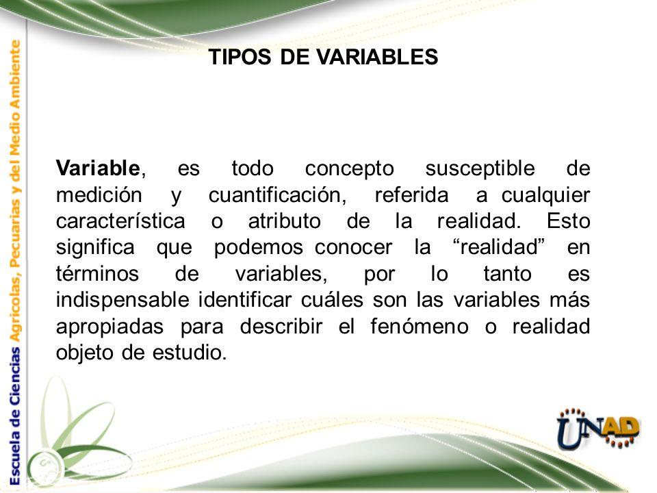 TIPOS DE VARIABLES En la investigación primaria, lo que se mide y cuantifica son las variables. El experimento es la formacomo decidimos llevar a cabo