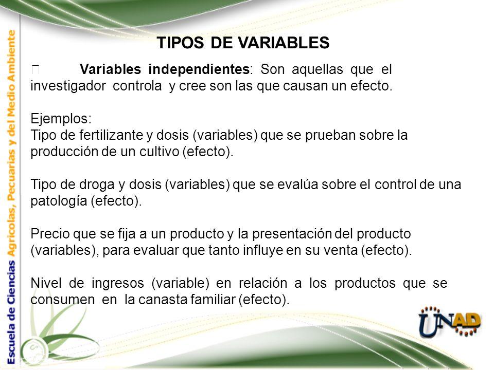 TIPOS DE VARIABLES Hay variables Independientes, condicionan, influyen y explican a otras variables denominadas variables dependientes. En el proceso