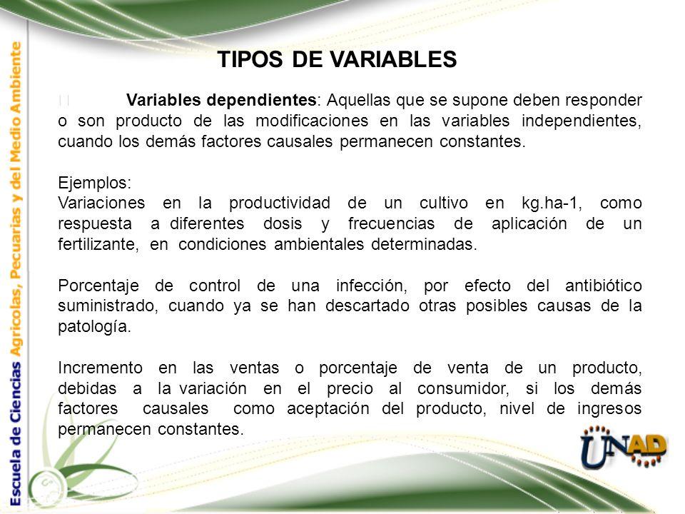 TIPOS DE VARIABLES Variables independientes: Son aquellas que el investigador controla y cree son las que causan un efecto. Ejemplos: Tipo de fertiliz