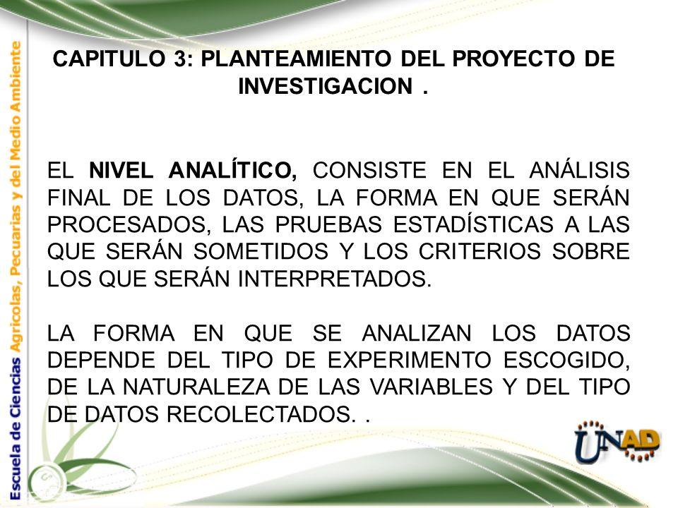 CAPITULO 3: PLANTEAMIENTO DEL PROYECTO DE INVESTIGACION. EL NIVEL METODOLÓGICO, DETERMINA LA FORMA EN QUE SERÁ CONDUCIDO EL EXPERIMENTO, LAS VARIABLES