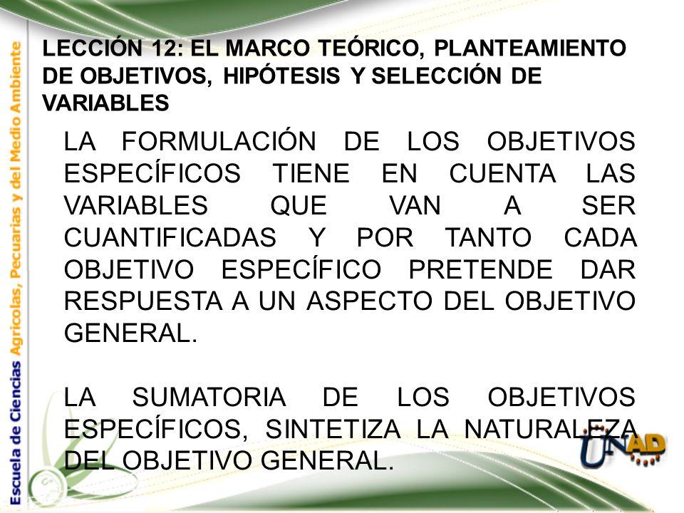 LECCIÓN 12: EL MARCO TEÓRICO, PLANTEAMIENTO DE OBJETIVOS, HIPÓTESIS Y SELECCIÓN DE VARIABLES Objetivos Específicos: Se relacionan directamente con el