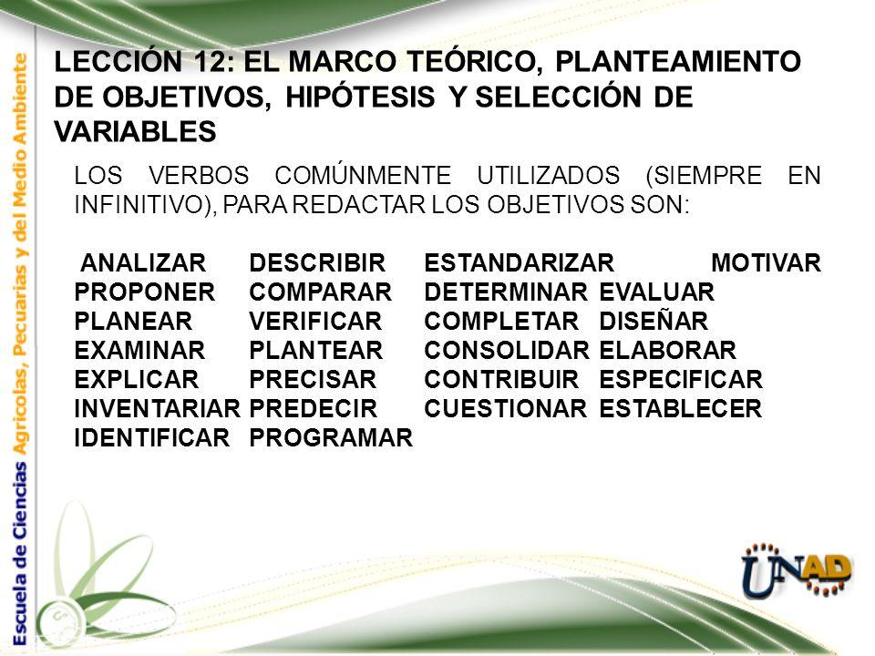 LECCIÓN 12: EL MARCO TEÓRICO, PLANTEAMIENTO DE OBJETIVOS, HIPÓTESIS Y SELECCIÓN DE VARIABLES LA FORMULACIÓN DE LOS OBJETIVOS ESPECÍFICOS TIENE EN CUEN