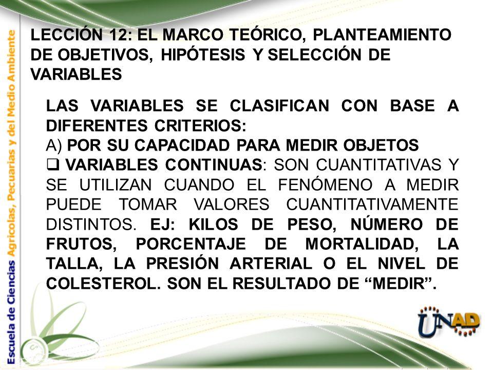 LECCIÓN 12: EL MARCO TEÓRICO, PLANTEAMIENTO DE OBJETIVOS, HIPÓTESIS Y SELECCIÓN DE VARIABLES 12.4 DETERMINACIÓN DE VARIABLES CON LAS HIPÓTESIS YA ELAB
