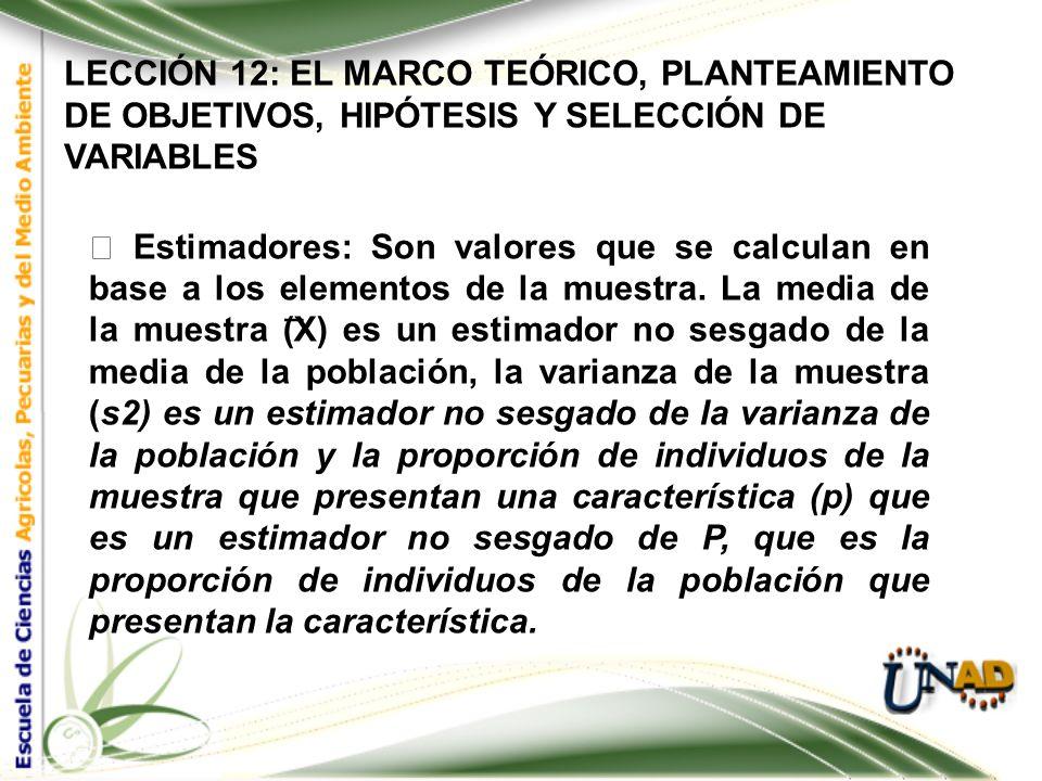 LECCIÓN 12: EL MARCO TEÓRICO, PLANTEAMIENTO DE OBJETIVOS, HIPÓTESIS Y SELECCIÓN DE VARIABLES Población: Una población es cualquier grupo de elementos;