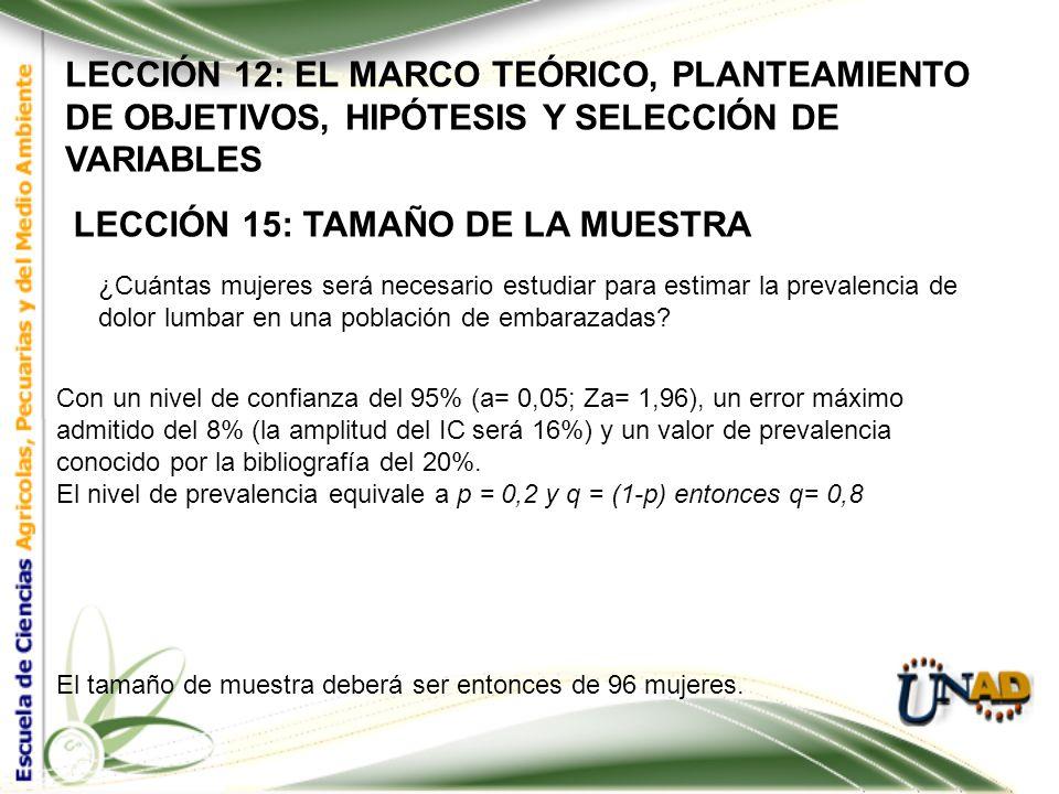 LECCIÓN 12: EL MARCO TEÓRICO, PLANTEAMIENTO DE OBJETIVOS, HIPÓTESIS Y SELECCIÓN DE VARIABLES LECCIÓN 15: TAMAÑO DE LA MUESTRA El tamaño de la muestra
