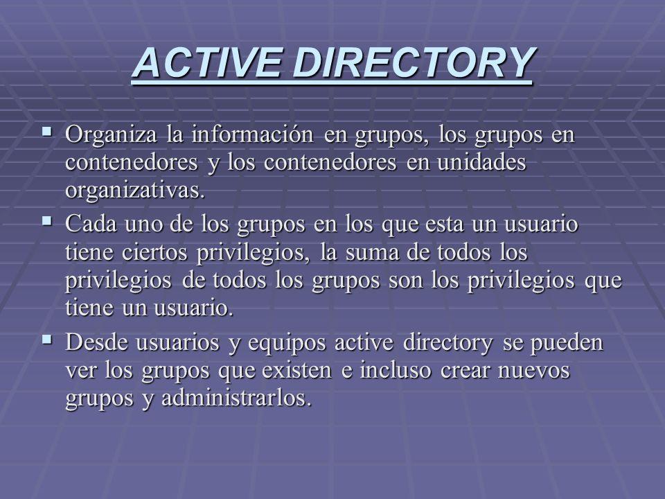 ACTIVE DIRECTORY Organiza la información en grupos, los grupos en contenedores y los contenedores en unidades organizativas. Organiza la información e