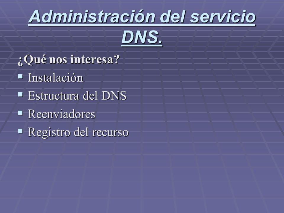 Administración del servicio DNS. ¿Qué nos interesa? Instalación Instalación Estructura del DNS Estructura del DNS Reenviadores Reenviadores Registro d