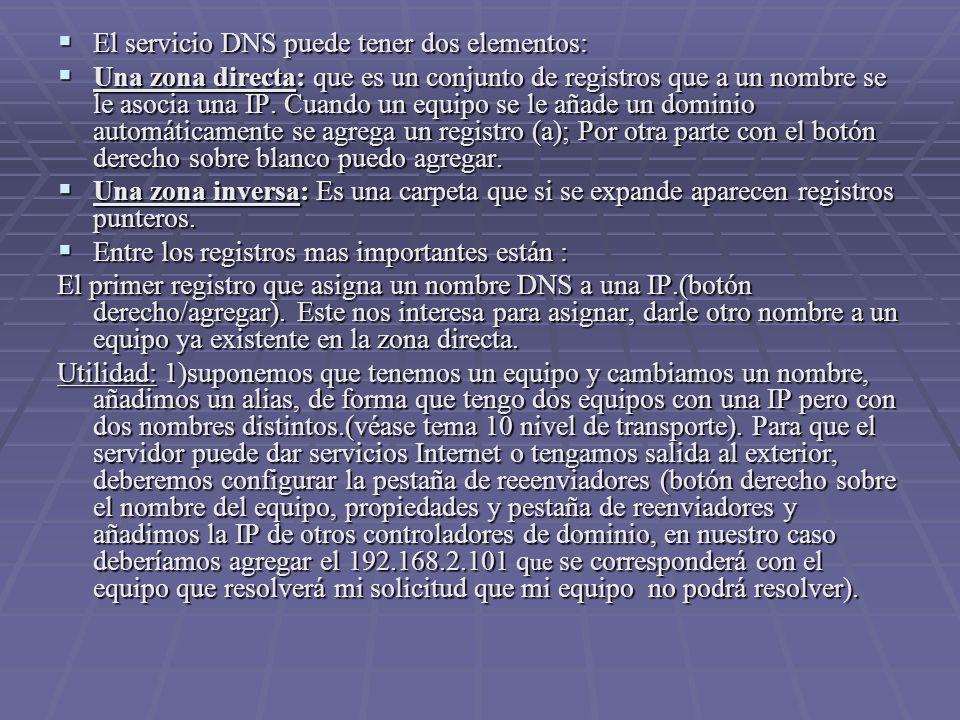El servicio DNS puede tener dos elementos: El servicio DNS puede tener dos elementos: Una zona directa: que es un conjunto de registros que a un nombre se le asocia una IP.