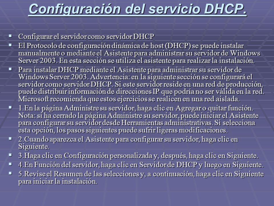 Configuración del servicio DHCP. Configurar el servidor como servidor DHCP Configurar el servidor como servidor DHCP El Protocolo de configuración din