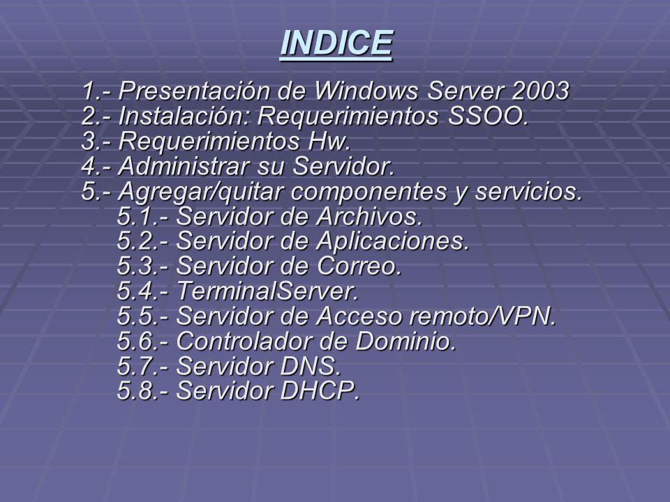 INDICE 1.- Presentación de Windows Server 2003 2.- Instalación: Requerimientos SSOO.