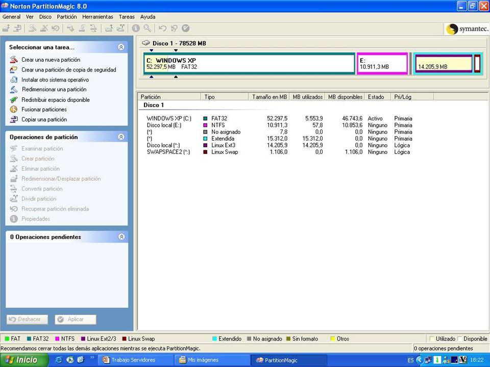 Instalación de 2003 Server Insertamos el disco y comenzamos con la instalación Insertamos el disco y comenzamos con la instalación Seleccionamos la partición NTFS que hemos creado anteriormente con el Partition Magic 8.0 (como se muestra en la imagen anterior.