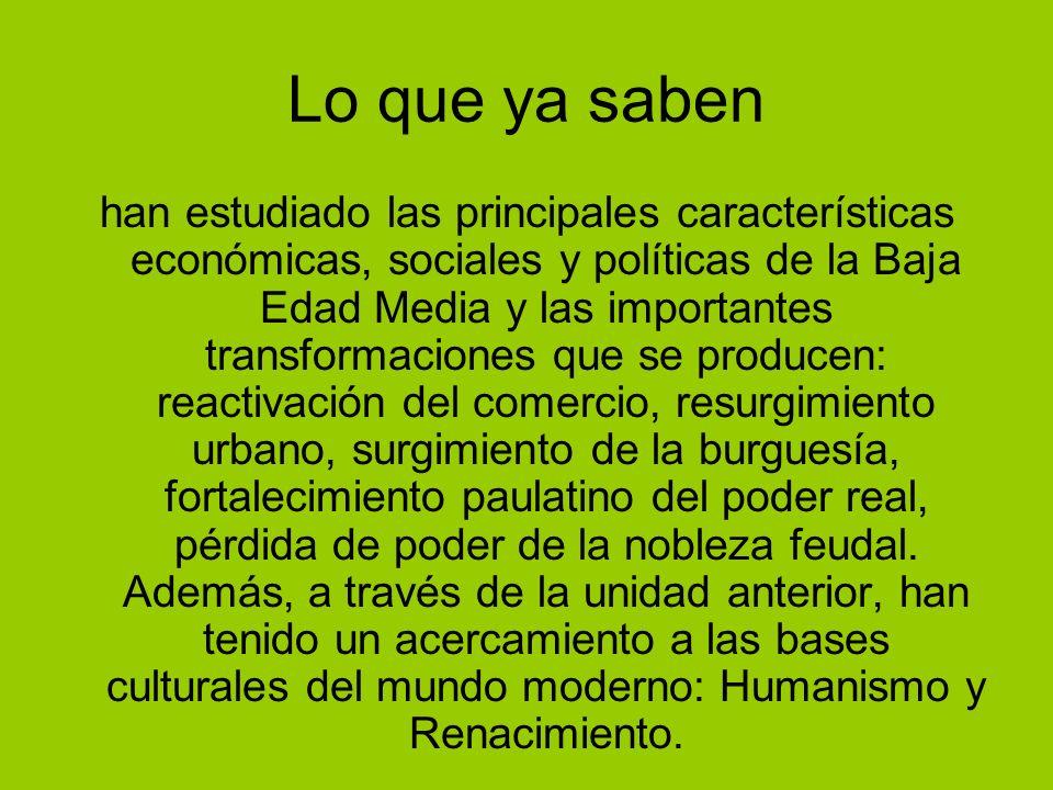 Lo que ya saben han estudiado las principales características económicas, sociales y políticas de la Baja Edad Media y las importantes transformacione
