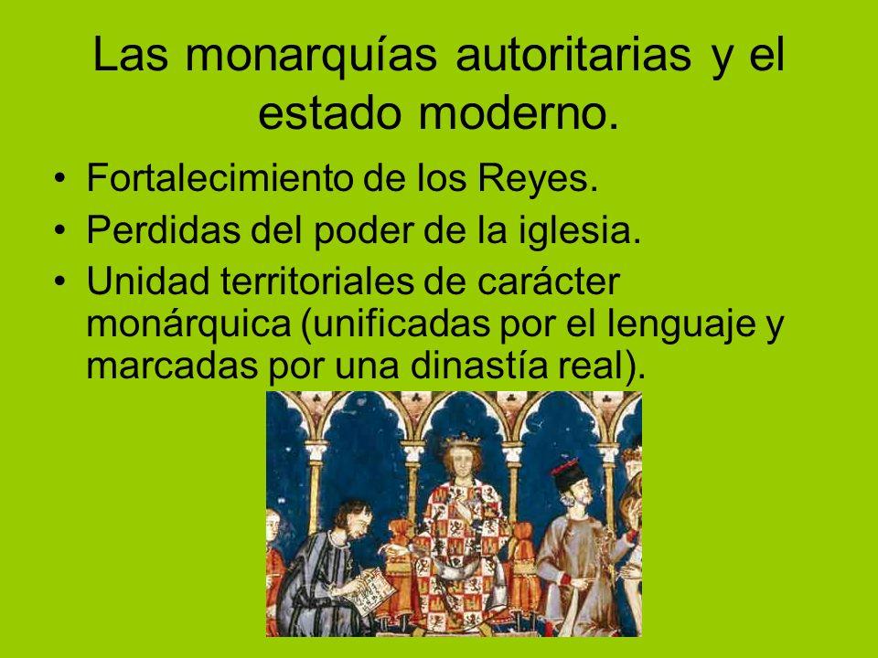 Las monarquías autoritarias y el estado moderno. Fortalecimiento de los Reyes. Perdidas del poder de la iglesia. Unidad territoriales de carácter moná