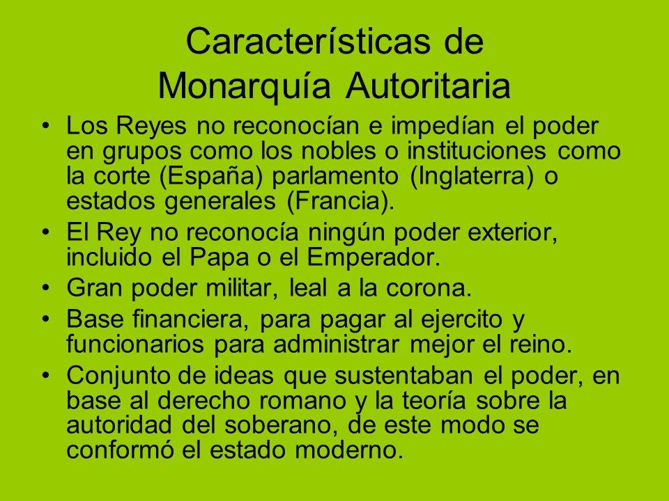 Características de Monarquía Autoritaria Los Reyes no reconocían e impedían el poder en grupos como los nobles o instituciones como la corte (España)