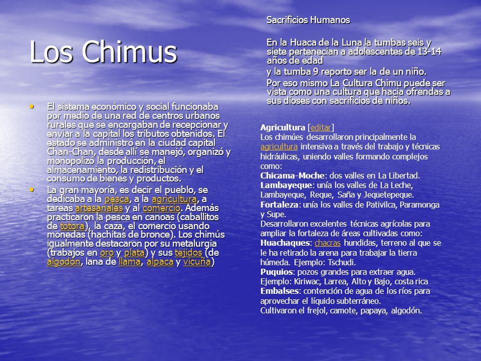 Los Chimus El sistema económico y social funcionaba por medio de una red de centros urbanos rurales que se encargaban de recepcionar y enviar a la capital los tributos obtenidos.