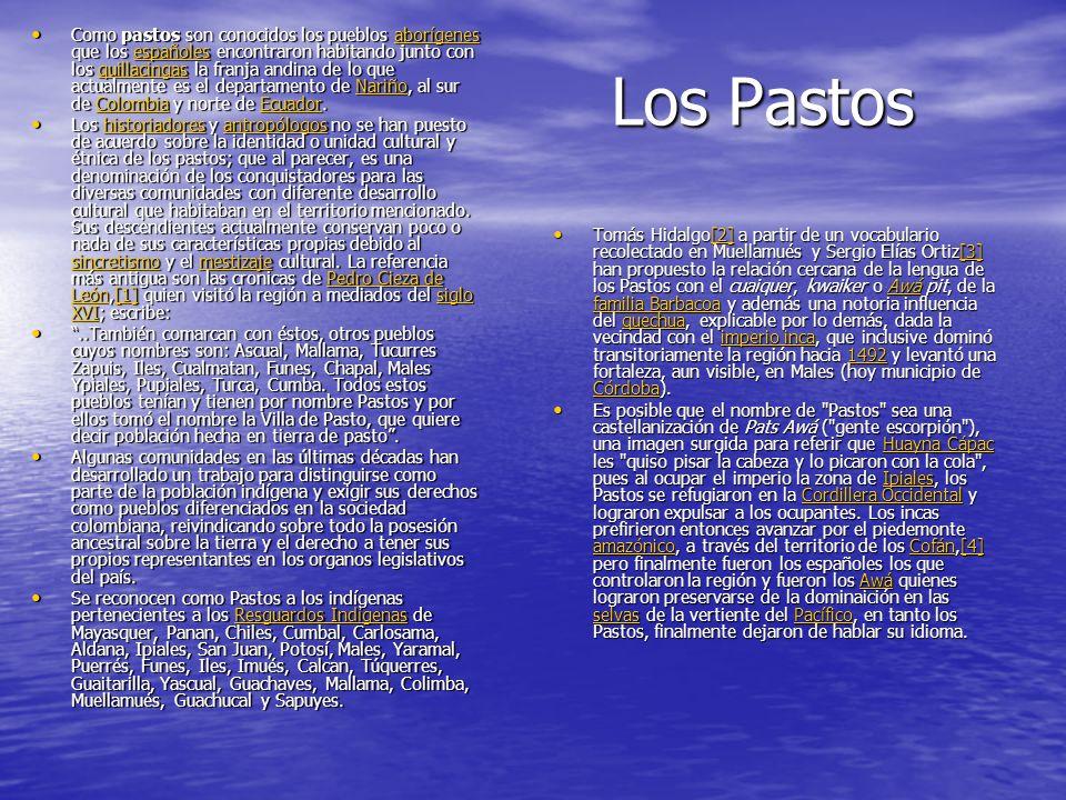 Los Pastos Los Pastos Como pastos son conocidos los pueblos aborígenes que los españoles encontraron habitando junto con los quillacingas la franja andina de lo que actualmente es el departamento de Nariño, al sur de Colombia y norte de Ecuador.
