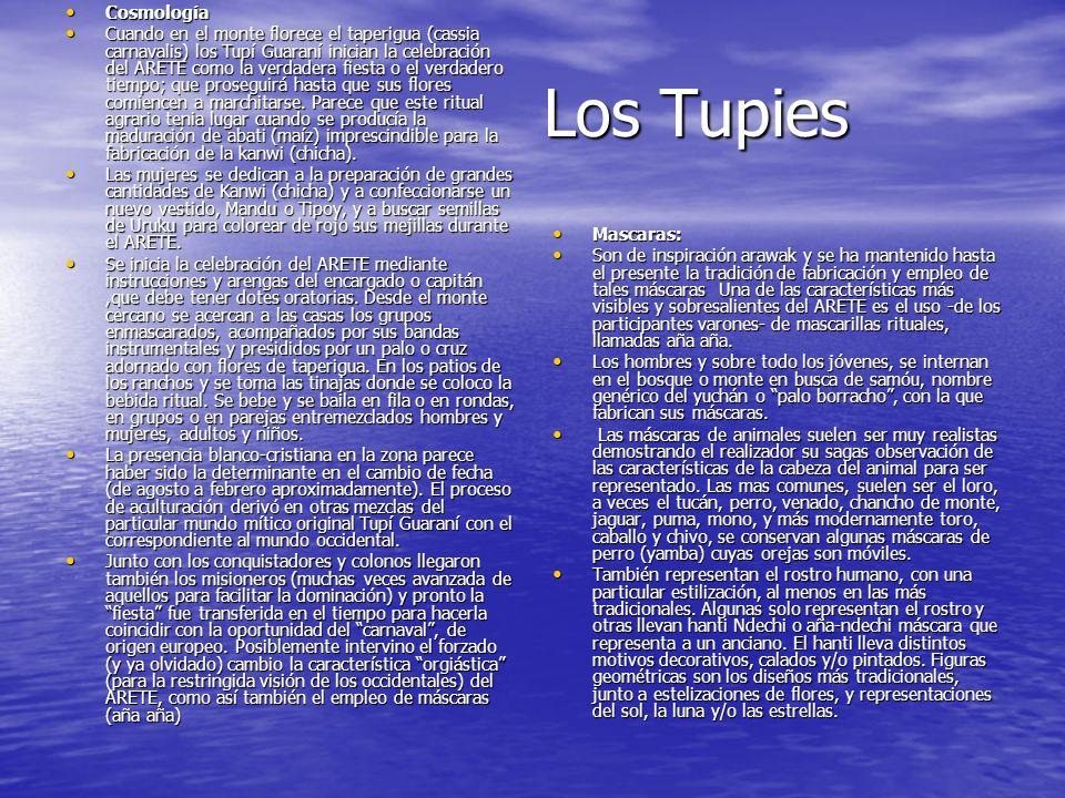 Los Tupies Cosmología Cosmología Cuando en el monte florece el taperigua (cassia carnavalis) los Tupí Guaraní inician la celebración del ARETE como la verdadera fiesta o el verdadero tiempo; que proseguirá hasta que sus flores comiencen a marchitarse.