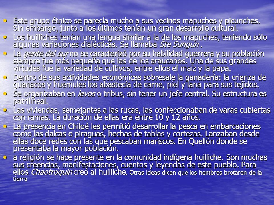 Este grupo étnico se parecía mucho a sus vecinos mapuches y picunches. Sin embargo, junto a los últimos tenían un gran desarrollo cultural. Este grupo