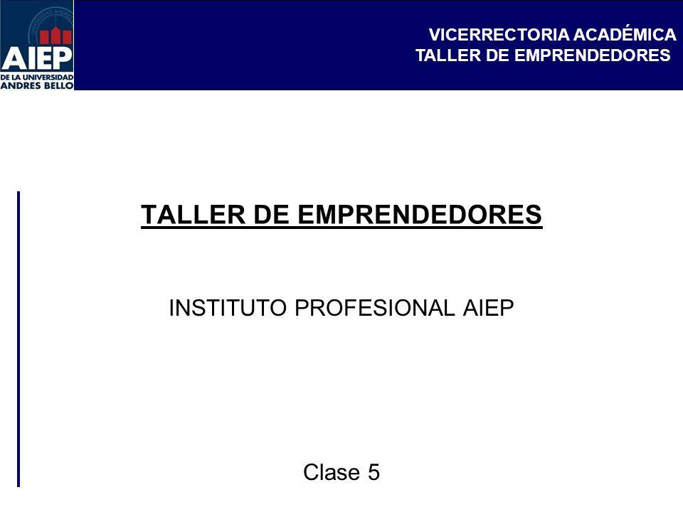 VICERRECTORIA ACADÉMICA TALLER DE EMPRENDEDORES INSTITUTO PROFESIONAL AIEP Clase 5