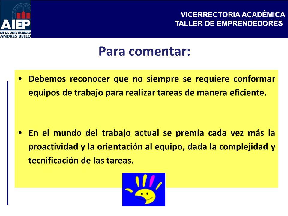 VICERRECTORIA ACADÉMICA TALLER DE EMPRENDEDORES Para comentar: Debemos reconocer que no siempre se requiere conformar equipos de trabajo para realizar