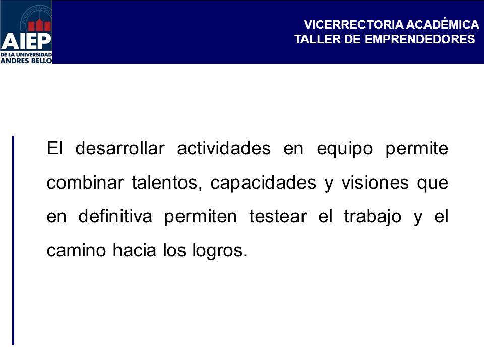 VICERRECTORIA ACADÉMICA TALLER DE EMPRENDEDORES El desarrollar actividades en equipo permite combinar talentos, capacidades y visiones que en definiti