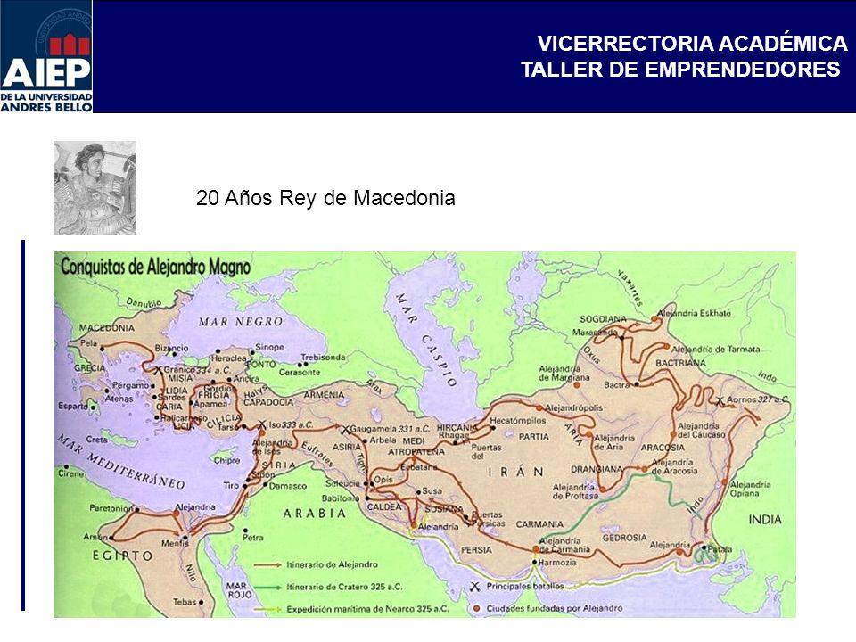 VICERRECTORIA ACADÉMICA TALLER DE EMPRENDEDORES 20 Años Rey de Macedonia
