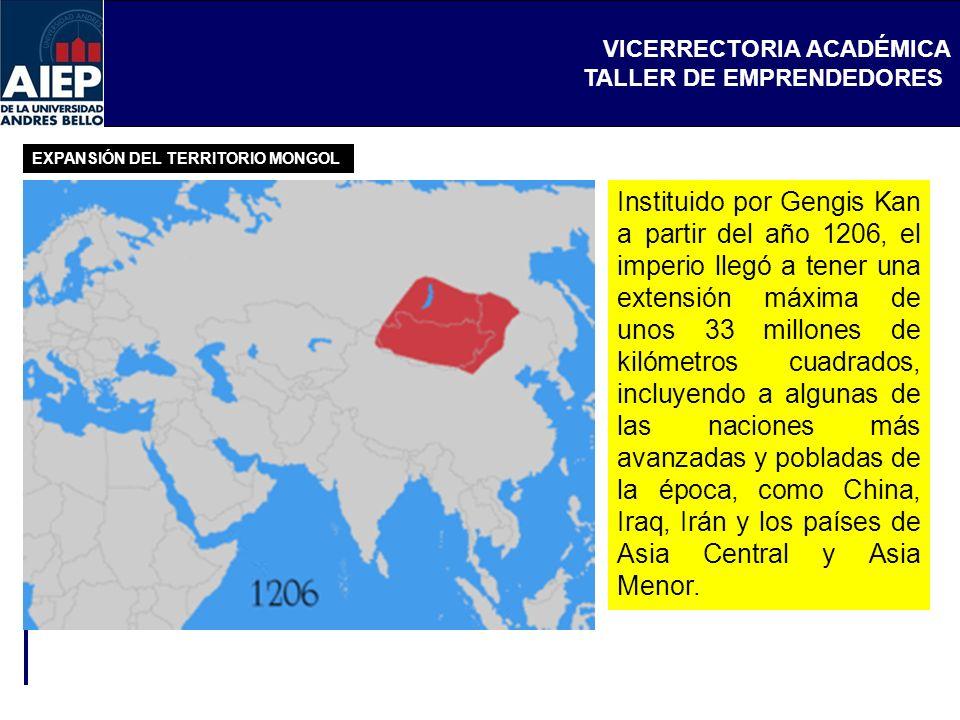 VICERRECTORIA ACADÉMICA TALLER DE EMPRENDEDORES Instituido por Gengis Kan a partir del año 1206, el imperio llegó a tener una extensión máxima de unos