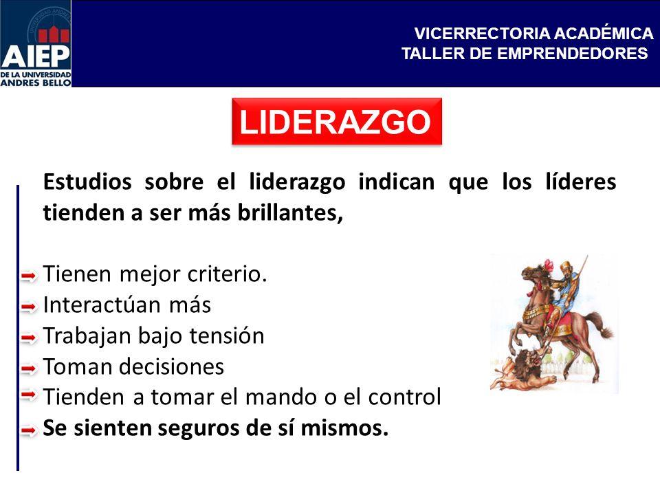 VICERRECTORIA ACADÉMICA TALLER DE EMPRENDEDORES LIDERAZGO