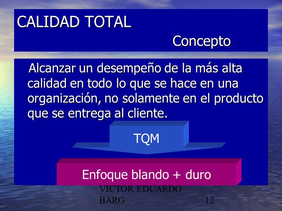 POR DR. C.P./LIC. VICTOR EDUARDO BARG12 CALIDAD TOTAL Concepto Alcanzar un desempeño de la más alta calidad en todo lo que se hace en una organización