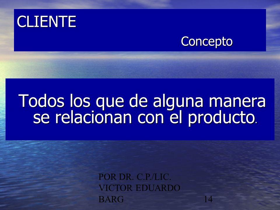 POR DR. C.P./LIC. VICTOR EDUARDO BARG14 CLIENTE Concepto Todos los que de alguna manera se relacionan con el producto. Todos los que de alguna manera