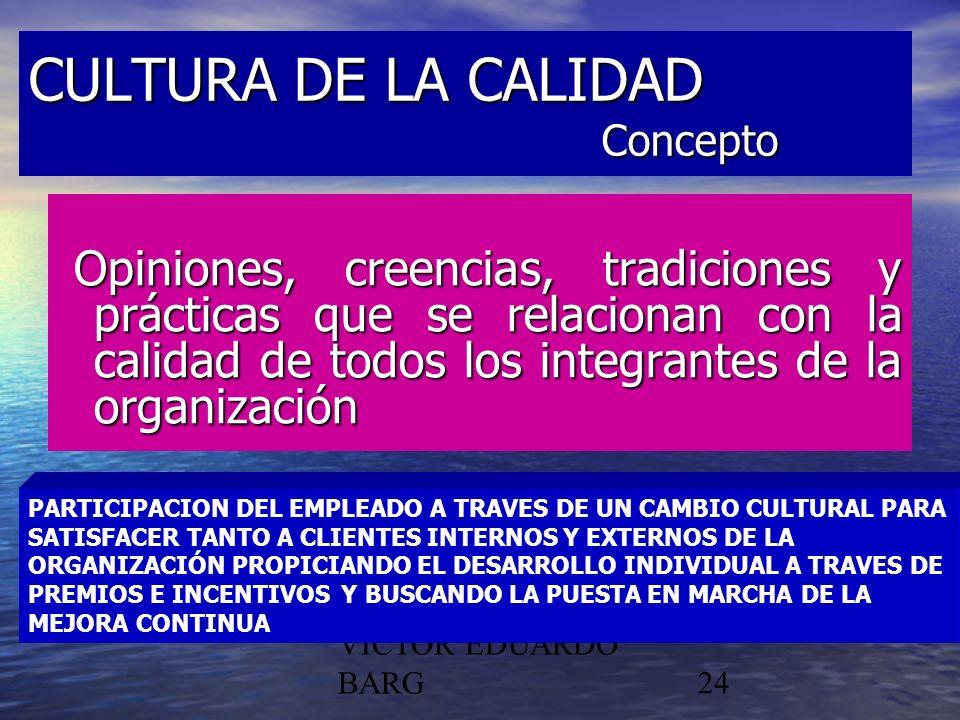 POR DR. C.P./LIC. VICTOR EDUARDO BARG24 CULTURA DE LA CALIDAD Concepto Opiniones, creencias, tradiciones y prácticas que se relacionan con la calidad