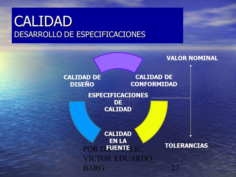 POR DR. C.P./LIC. VICTOR EDUARDO BARG27 CALIDAD DESARROLLO DE ESPECIFICACIONES CALIDAD DE CONFORMIDAD CALIDAD EN LA FUENTE CALIDAD DE DISEÑO ESPECIFIC