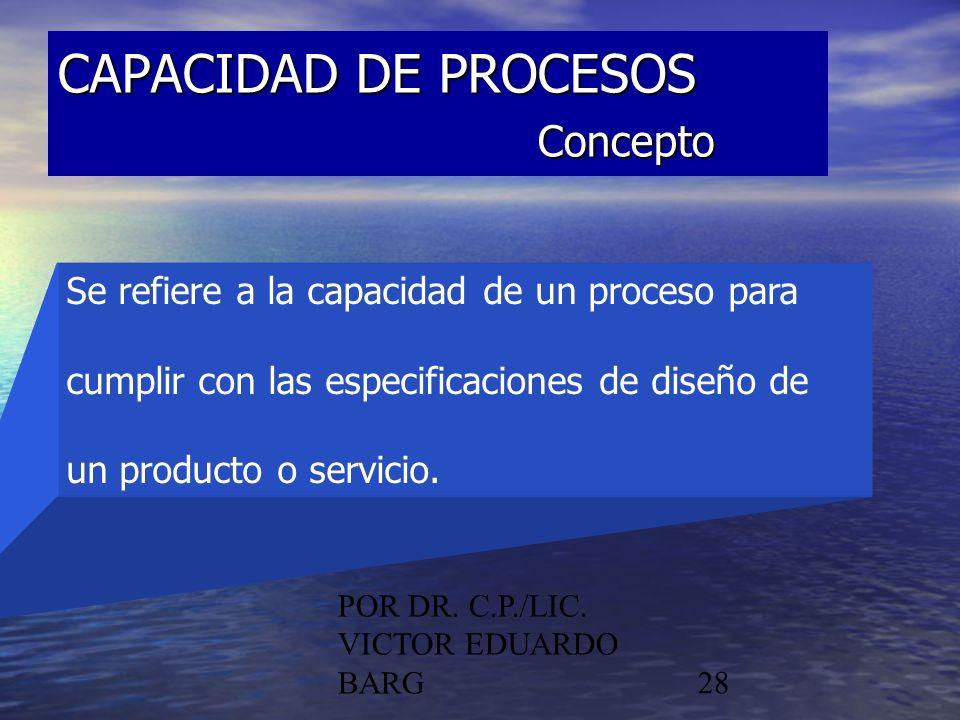 POR DR. C.P./LIC. VICTOR EDUARDO BARG28 CAPACIDAD DE PROCESOS Concepto Se refiere a la capacidad de un proceso para cumplir con las especificaciones d