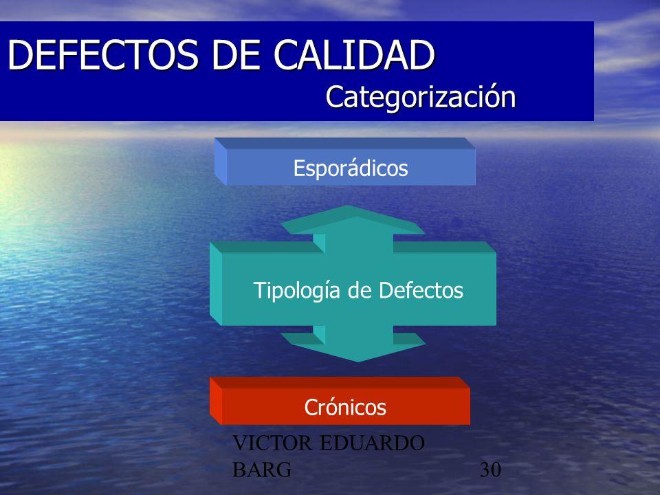 POR DR. C.P./LIC. VICTOR EDUARDO BARG30 DEFECTOS DE CALIDAD Categorización Esporádicos Crónicos Tipología de Defectos