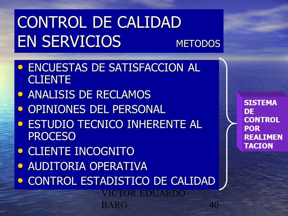 POR DR. C.P./LIC. VICTOR EDUARDO BARG40 CONTROL DE CALIDAD EN SERVICIOS METODOS ENCUESTAS DE SATISFACCION AL CLIENTE ENCUESTAS DE SATISFACCION AL CLIE