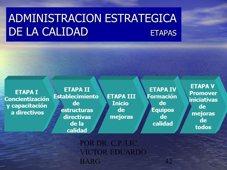 POR DR. C.P./LIC. VICTOR EDUARDO BARG42 ADMINISTRACION ESTRATEGICA DE LA CALIDAD ETAPAS ETAPA I Concientización y capacitación a directivos ETAPA II E