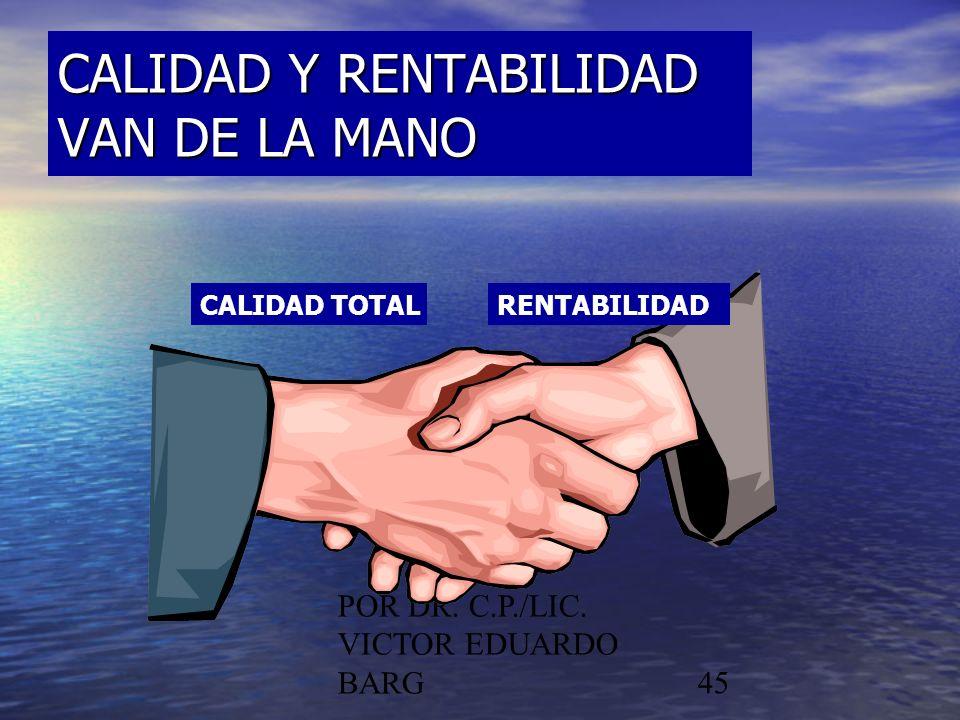 POR DR. C.P./LIC. VICTOR EDUARDO BARG45 CALIDAD Y RENTABILIDAD VAN DE LA MANO CALIDAD TOTALRENTABILIDAD