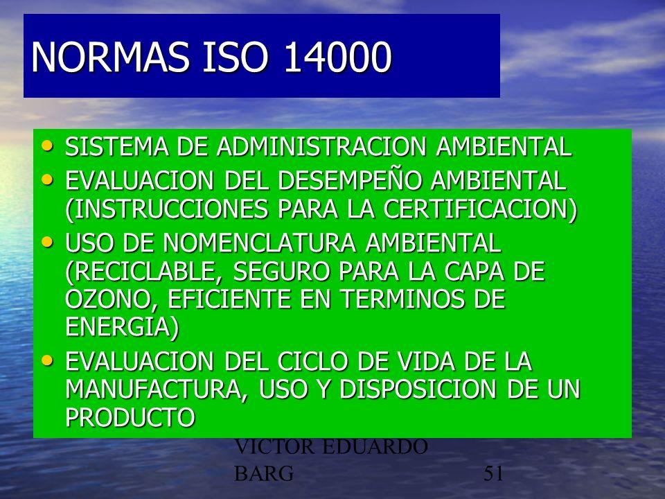 POR DR. C.P./LIC. VICTOR EDUARDO BARG51 NORMAS ISO 14000 SISTEMA DE ADMINISTRACION AMBIENTAL SISTEMA DE ADMINISTRACION AMBIENTAL EVALUACION DEL DESEMP