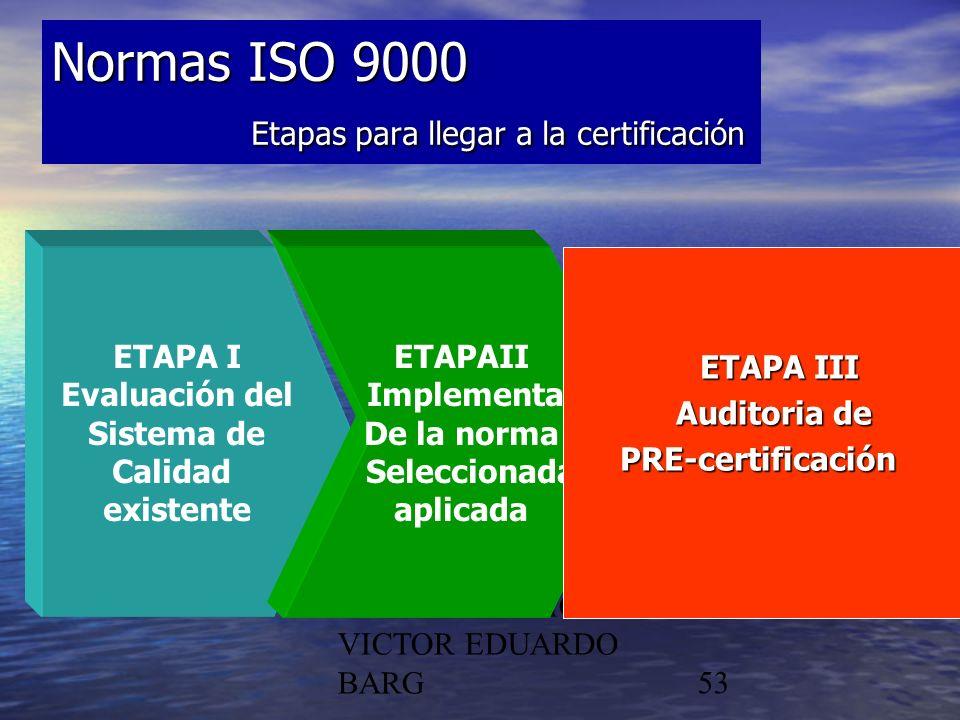 POR DR. C.P./LIC. VICTOR EDUARDO BARG53 Normas ISO 9000 Etapas para llegar a la certificación ETAPA I Evaluación del Sistema de Calidad existente ETAP