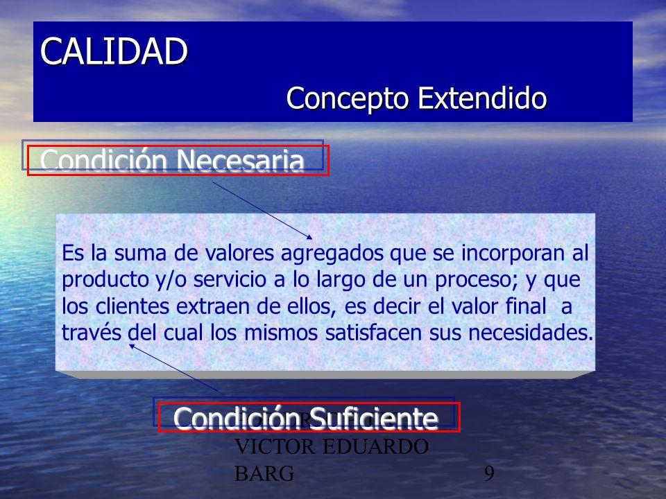 POR DR. C.P./LIC. VICTOR EDUARDO BARG9 CALIDAD Concepto Extendido Condición Necesaria Condición Suficiente Es la suma de valores agregados que se inco