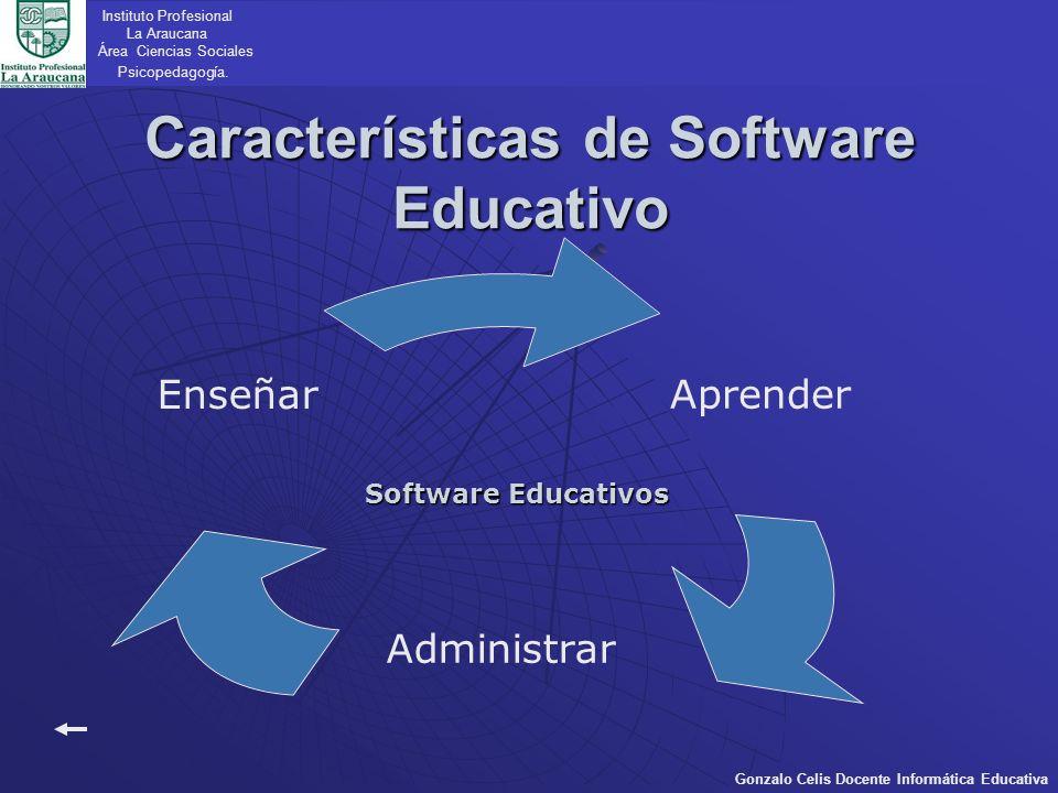 Aprender Administrar Enseñar Características de Software Educativo Instituto Profesional La Araucana Área Ciencias Sociales Psicopedagogía. Gonzalo Ce