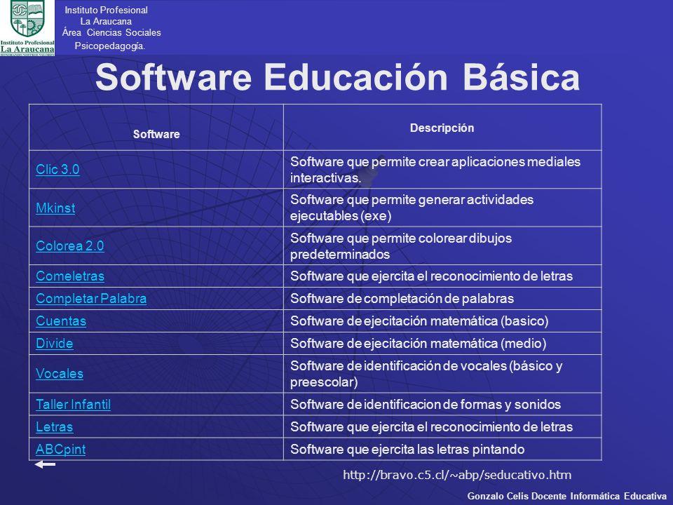 Software Educación Básica Instituto Profesional La Araucana Área Ciencias Sociales Psicopedagogía. Gonzalo Celis Docente Informática Educativa Softwar