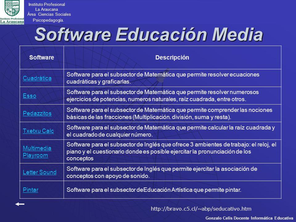 Software Educación Media Instituto Profesional La Araucana Área Ciencias Sociales Psicopedagogía. Gonzalo Celis Docente Informática Educativa Software