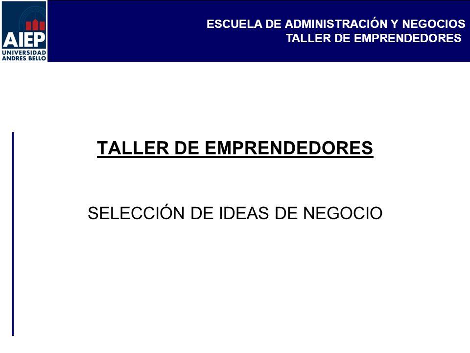 ESCUELA DE ADMINISTRACIÓN Y NEGOCIOS TALLER DE EMPRENDEDORES SELECCIÓN DE IDEAS DE NEGOCIO