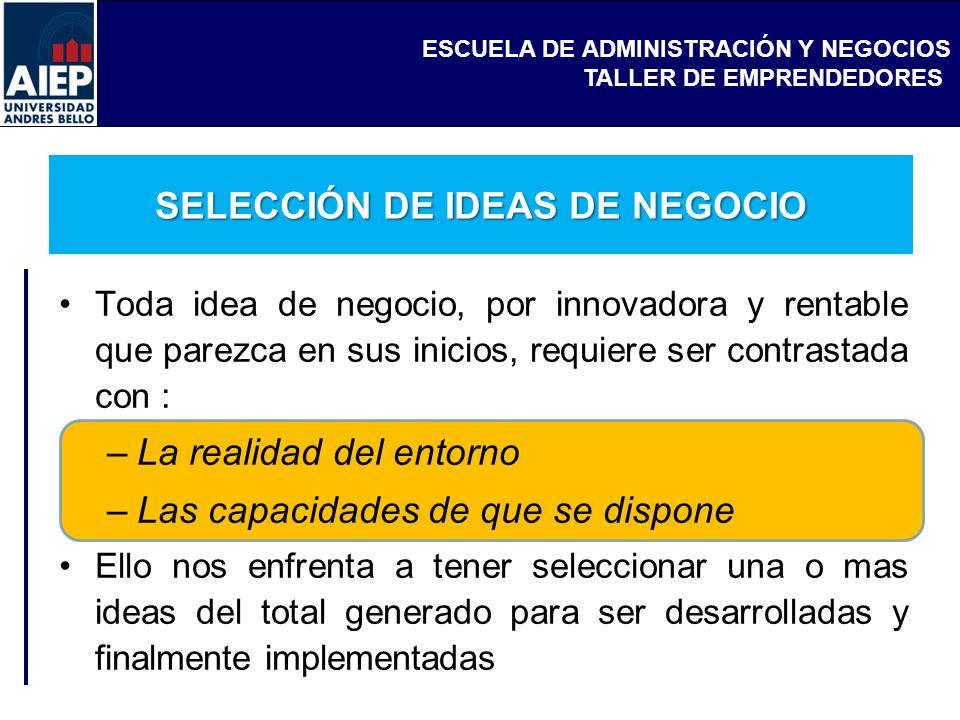 ESCUELA DE ADMINISTRACIÓN Y NEGOCIOS TALLER DE EMPRENDEDORES SELECCIÓN DE IDEAS DE NEGOCIO Toda idea de negocio, por innovadora y rentable que parezca