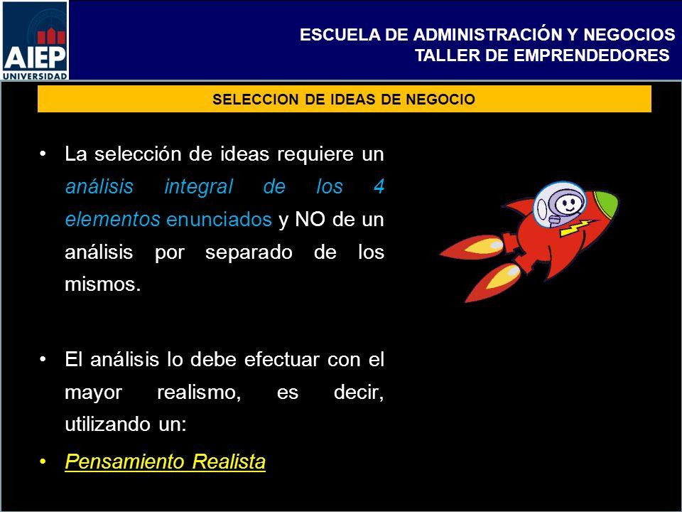 ESCUELA DE ADMINISTRACIÓN Y NEGOCIOS TALLER DE EMPRENDEDORES SELECCION DE IDEAS DE NEGOCIO La selección de ideas requiere un análisis integral de los