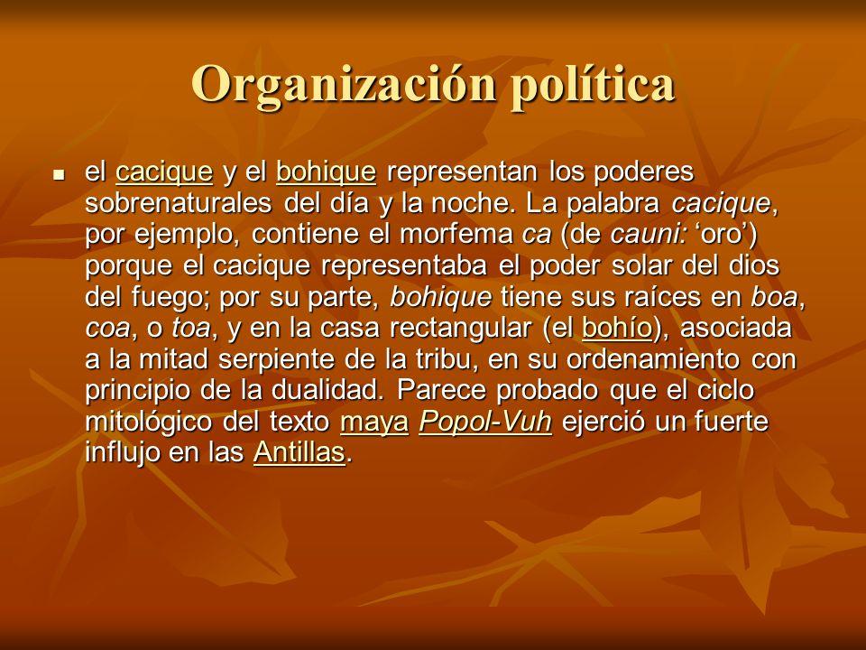Organización política el cacique y el bohique representan los poderes sobrenaturales del día y la noche.