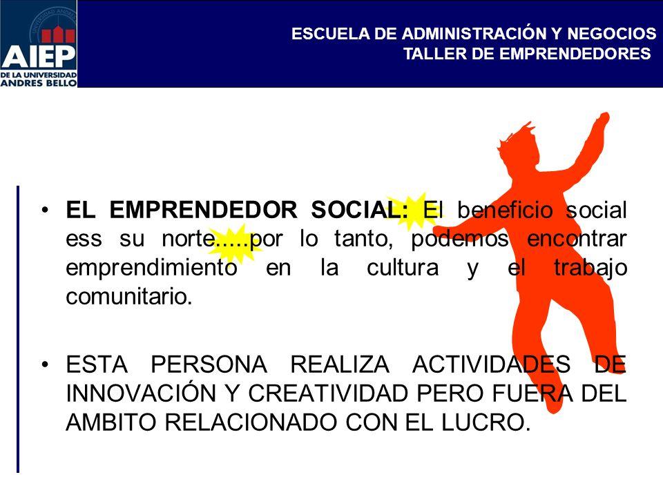ESCUELA DE ADMINISTRACIÓN Y NEGOCIOS TALLER DE EMPRENDEDORES EL EMPRENDEDOR SOCIAL: El beneficio social ess su norte.....por lo tanto, podemos encontr