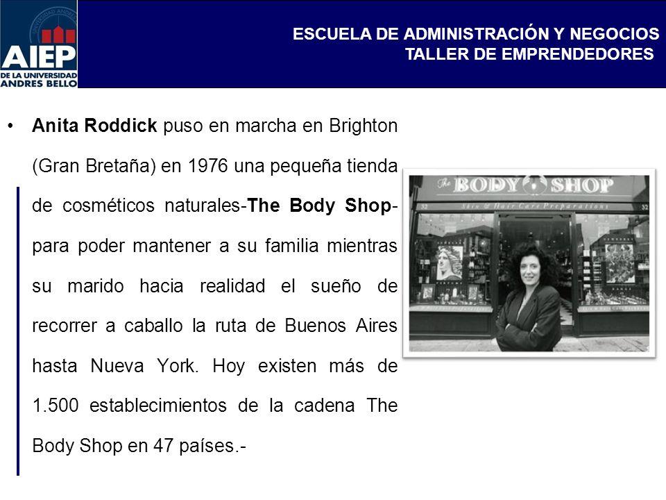 ESCUELA DE ADMINISTRACIÓN Y NEGOCIOS TALLER DE EMPRENDEDORES Anita Roddick puso en marcha en Brighton (Gran Bretaña) en 1976 una pequeña tienda de cos